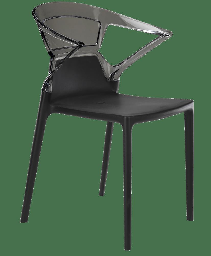 Кресло Papatya Ego-K черное сиденье, верх прозрачно-дымчатый
