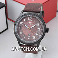 Мужские кварцевые наручные часы Mini Focus MF0166G / Мини Фокус на кожаном ремешке коричневого цвета