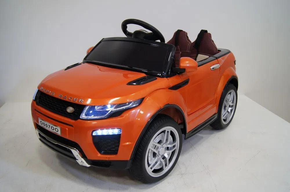 Детский электромобиль Джип M 3213 EBLR-7, Land Rover, Кожа, EVA резина, Амортизаторы, оранжевый