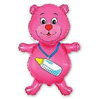 Фольгированный мини-шар Медвежонок девочка (Flexmetal)