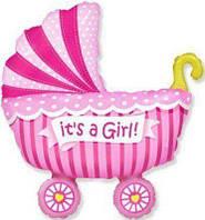 Фольгированный мини-шар коляска детская розовая (Flexmetal)