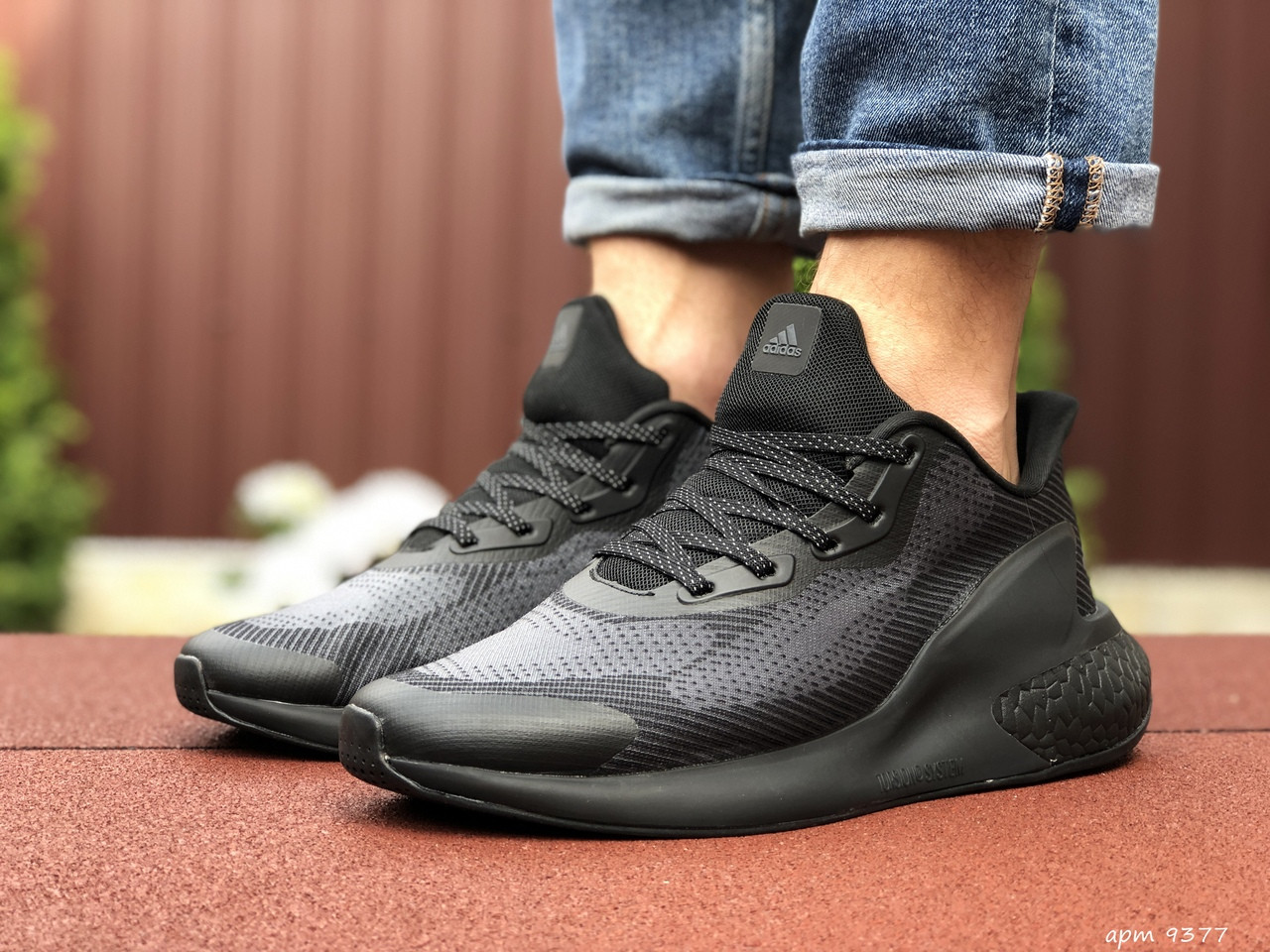 Мужские кроссовки Adidas Alphaboost (черные) 9377