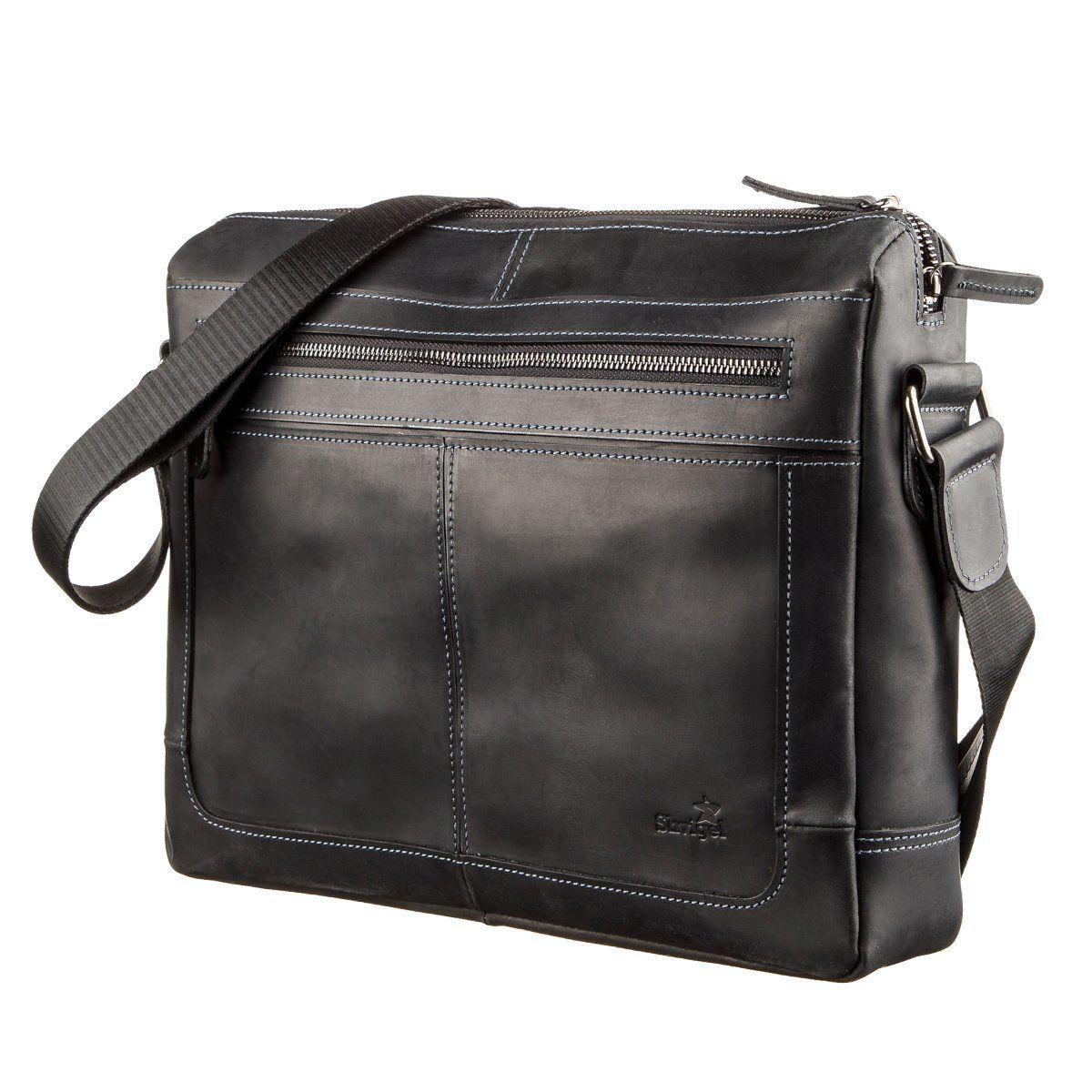 Деловая мужская кожаная сумка на плечо SHVIGEL 11246 Черная, Черный