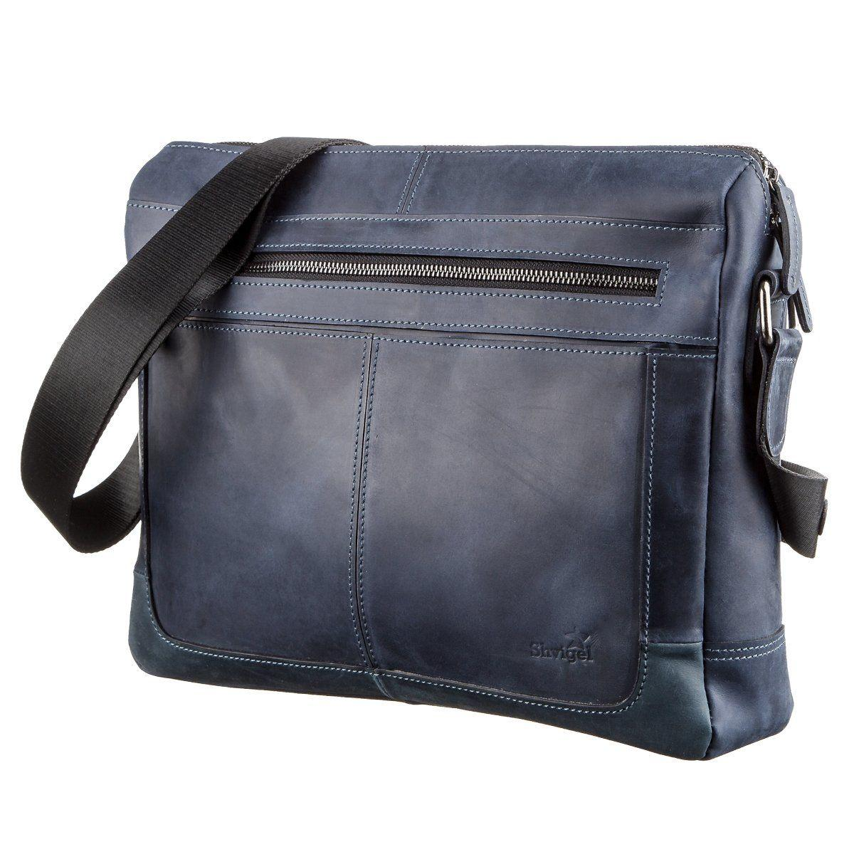 Деловая мужская кожаная сумка на плечо SHVIGEL 11249 Синяя, Синий