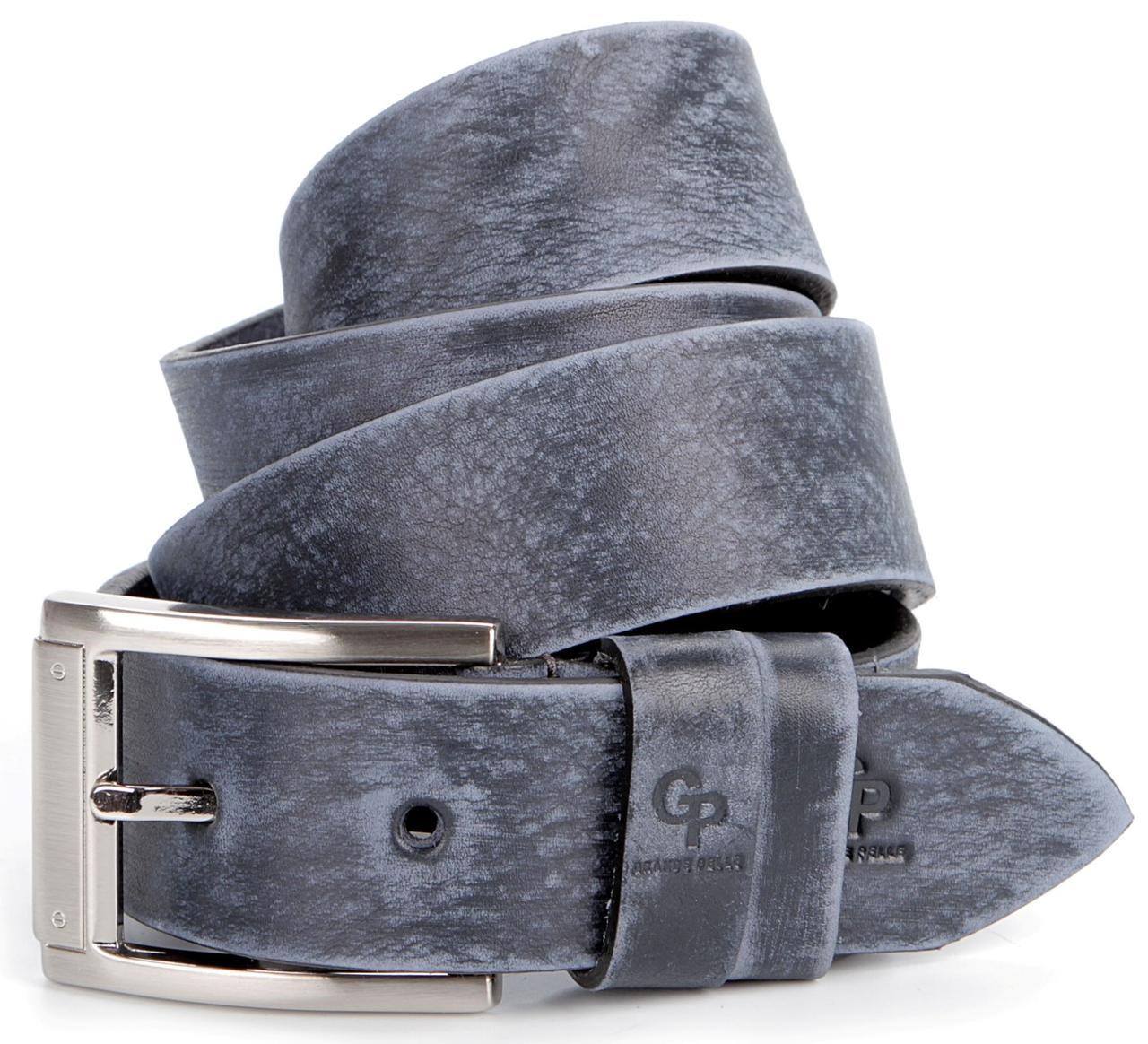 Солидный мужской ремень из натуральной кожи GRANDE PELLE 00868, Синий