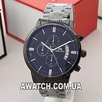 Мужские кварцевые наручные часы Megalith 0105 / Мегалайт на металлическом браслете черного цвета