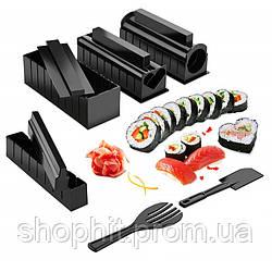 Набор для приготовления суши и роллов MIDORI 10 ед., Суши машинка, Форма для роллов