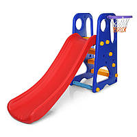 Детская горка YG2016-16-1 с баскетбольным кольцом   Цвет: красно-синий