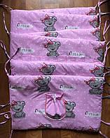 Защита - бортики на детскую кроватку из 4-х частей, Мишки Тэдди, розовый