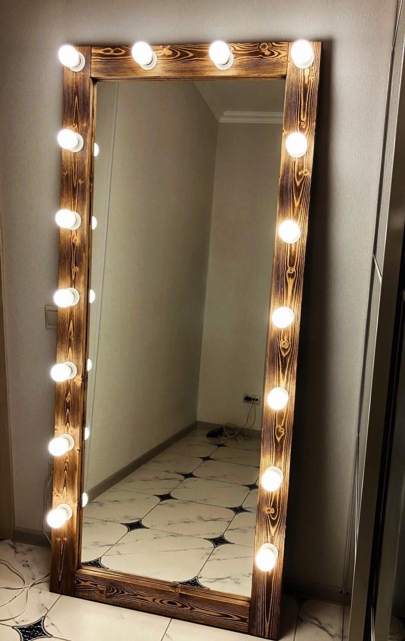 ❤️Зеркало с подсветкой☀️ Напольное большое Зеркало в полный рост с подсветкой для макияжа Натуральное Дерево!