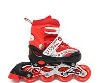 Детские раздвижные ролики, роликовые коньки светящиеся колеса Maraton Oscar (красный)