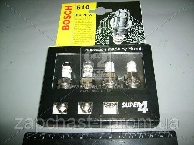 Свеча зажигания FR78X SUPER4 (VW GOLF IV, POLO) (4 шт. блист.) (пр-во BOSCH) 0242232802