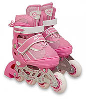 Детские раздвижные ролики, роликовые коньки светящиеся колеса Maraton Chicago розовый