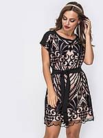 Вечернее платье пудра с гипюром 42 44 46 48 50