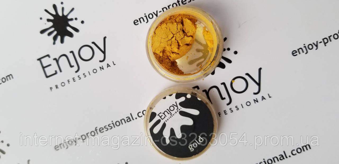 Втирка для ногтей c кисточкой Gold Enjoy  Professional,ПЫЛЬ золотая 1ГР