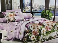 Комплект постельного белья полуторный Бязь хлопок 100% Беларусь 150*215 Персиковые розы