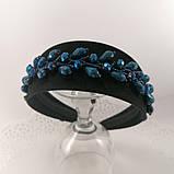 Чорний широкий Обруч обідок для волосся з кришталевими намистинами, фото 10