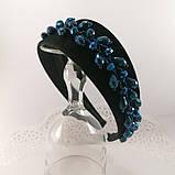 Чорний широкий Обруч обідок для волосся з кришталевими намистинами, фото 7