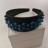 Чорний широкий Обруч обідок для волосся з кришталевими намистинами, фото 2
