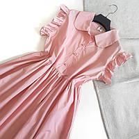 Красивое нежное платье на пуговицах миди