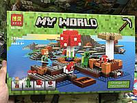 Конструктор Minecraft bela Майнкрафт Грибной Остров, 253 деталей, 4 фигурок, в коробке 33.3х21х6 см