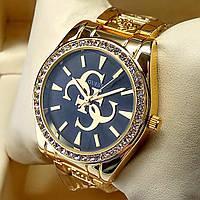Женские кварцевые наручные часы Guess на металлическом браслете золотого цвета, черный циферблат