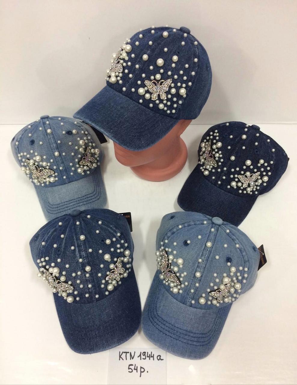 Летняя джинсовая кепка для девочки с камнями р.54