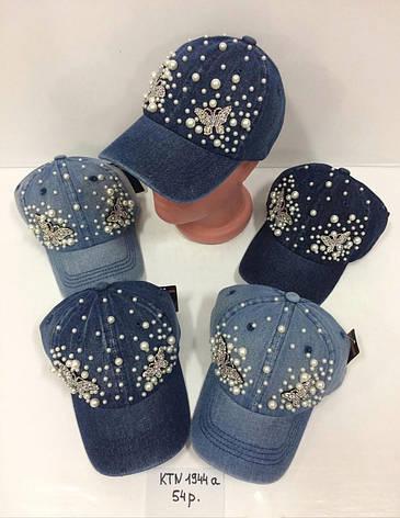 Летняя джинсовая кепка для девочки с камнями р.54, фото 2
