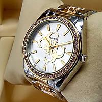 Женские наручные часы Guess на металлическом браслете комбинированные золото серебро, серебристый циферблат