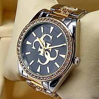 Женские наручные часы Guess на металлическом браслете комбинированные золото серебро, черный циферблат