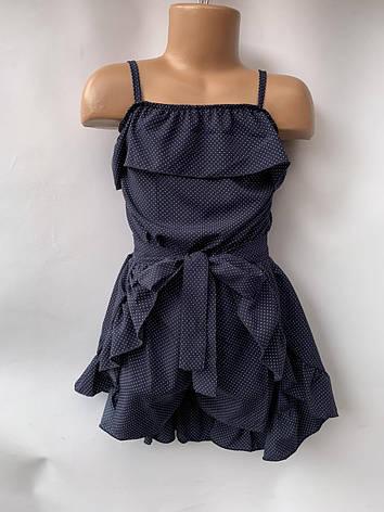 Комплект для девочки комбез и юбка в мелкий горошек р.5-8 лет, фото 2