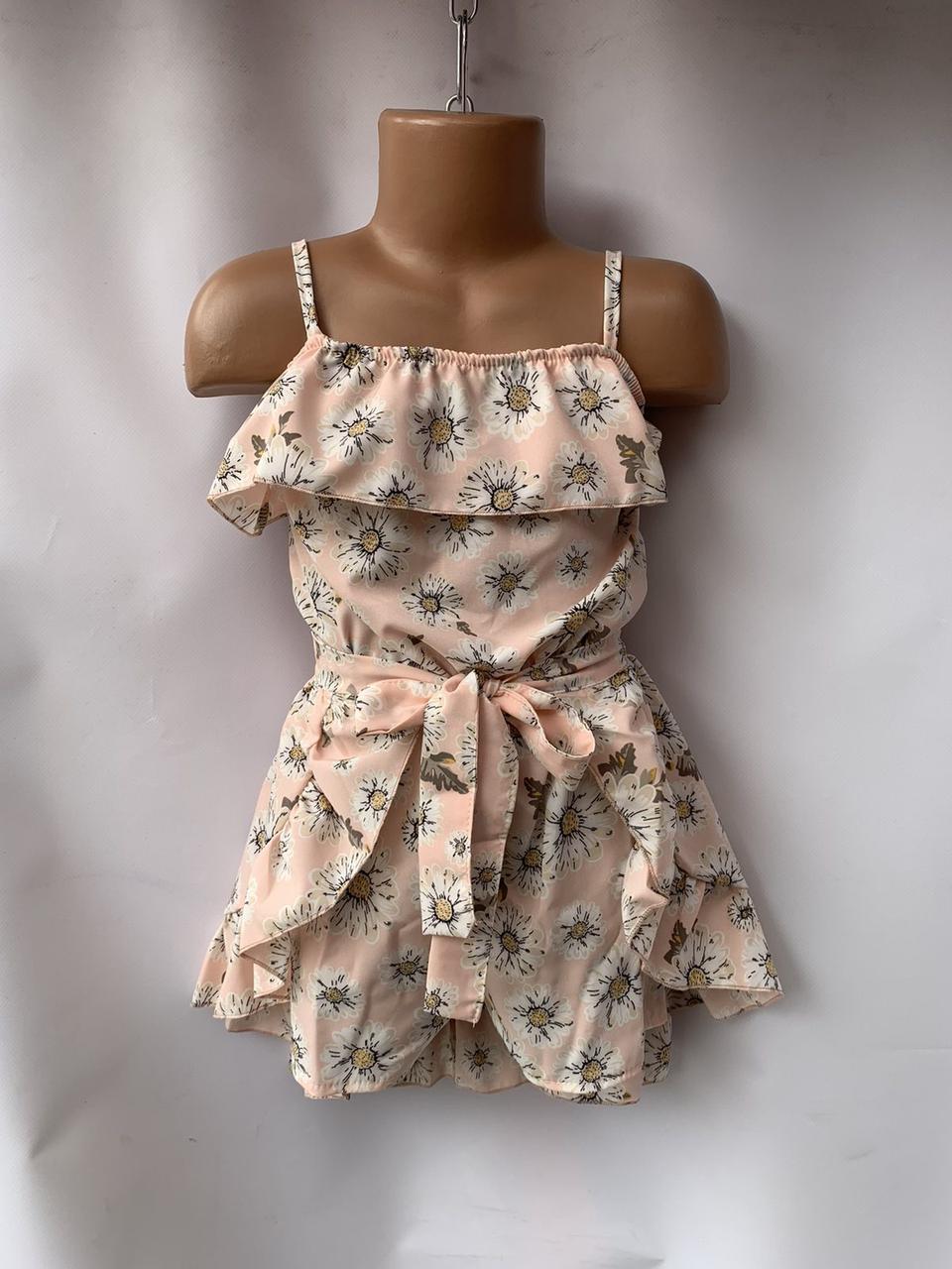 Комплект для девочки комбез и юбка цветок р.5-8 лет