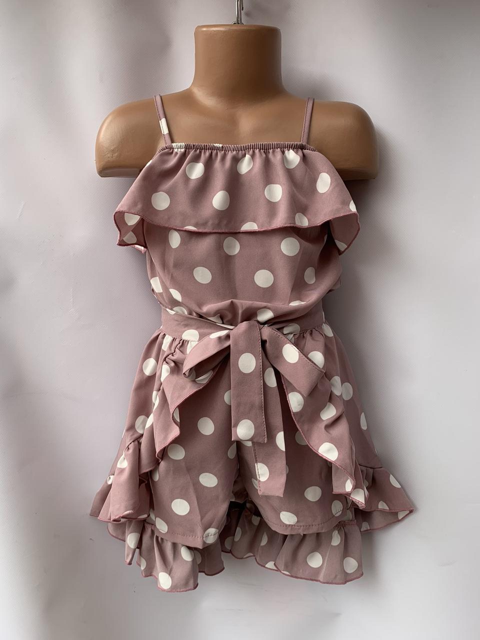 Комплект для девочки комбез и юбка горох р.5-8 лет