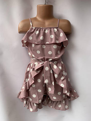 Комплект для девочки комбез и юбка горох р.5-8 лет, фото 2