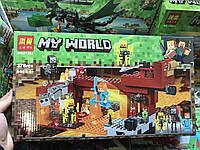 Конструктор Minecraft lari Майнкрафт Пылающий Мост Ифрита, 378 деталей, 4 фигурки, в коробке 38,8*22*6,5 см