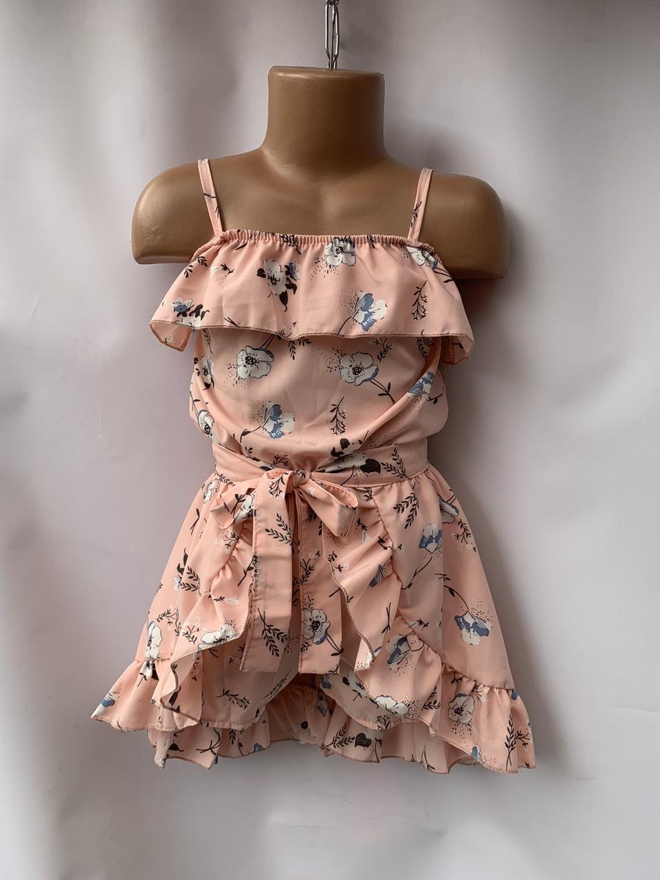 Комплект для девочки комбез и юбка в цветок р.5-8 лет