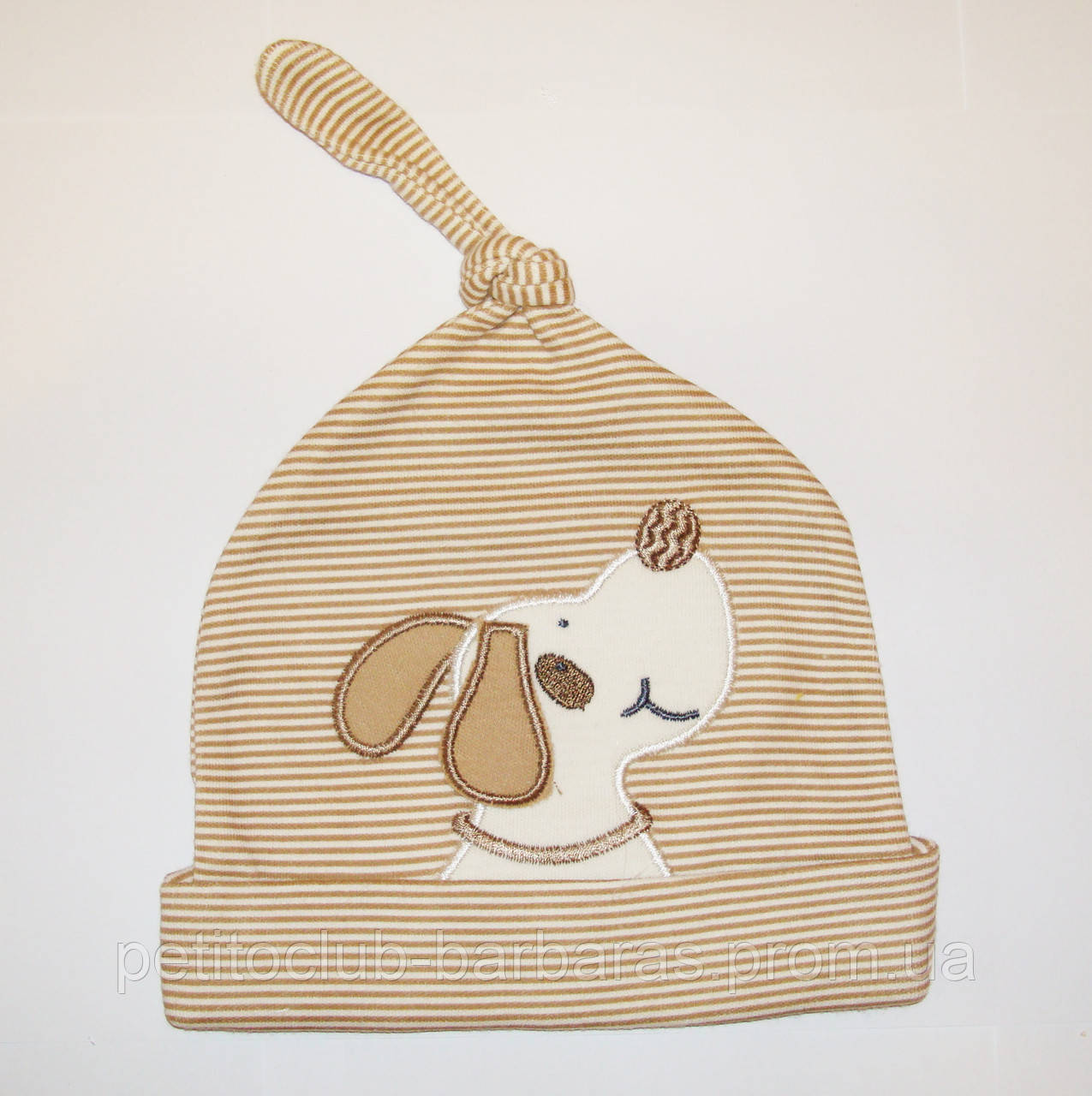 Хлопковая шапка-узелок для новорожденного мальчика Собачка (Kardi, Турция)
