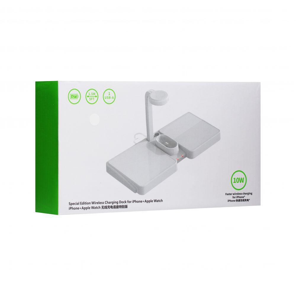 Беспроводное зарядное устройство S11 4 в 1 (1USB, 4A, белое)