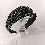 Чорний широкий Обруч обідок для волосся з кришталевими намистинами, фото 6