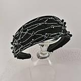 Чорний широкий Обруч обідок для волосся з кришталевими намистинами, фото 3