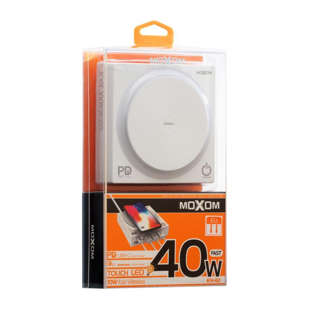 Беспроводная зарядная станция Moxom KH-62 PD + USB (Quick Charge 3.0, 3USB, 3A, 1.3м, белая)