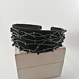 Чорний широкий Обруч обідок для волосся з кришталевими намистинами, фото 5