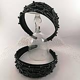 Чорний широкий Обруч обідок для волосся з кришталевими намистинами, фото 9
