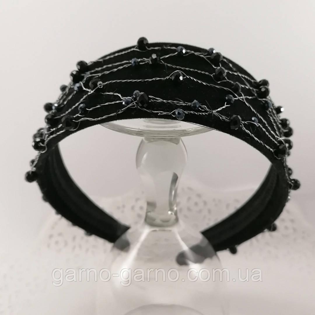 Чорний широкий Обруч обідок для волосся з кришталевими намистинами