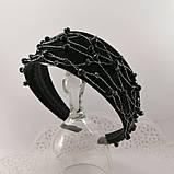 Чорний широкий Обруч обідок для волосся з кришталевими намистинами, фото 4