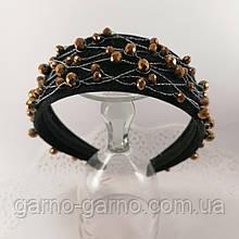 Черный широкий Обруч ободок для волос с хрустальными бусинами