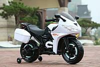 """Детский электромобиль Tilly """"Мотоцикл"""" T-7221 WHITE c дополнительными колесами и багажником"""