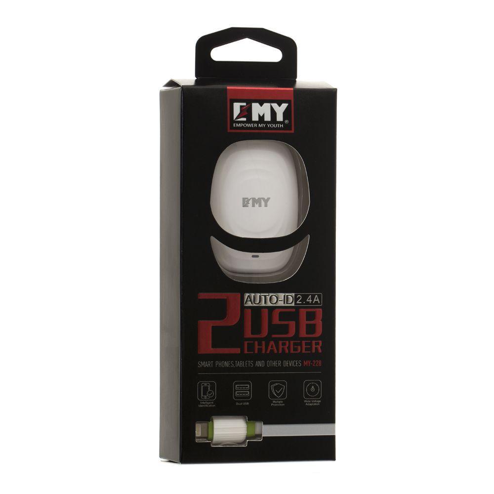 Сетевое зарядное устройство EMY MY-228 с кабелем Lightning (2USB, 2.4A, белое)