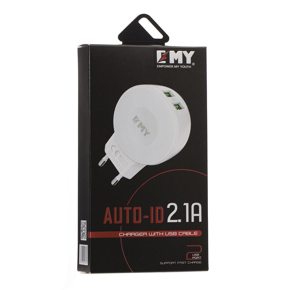 Мережевий зарядний пристрій EMY MY-269 з кабелем Lightning (2USB, 2.4 A, біле)