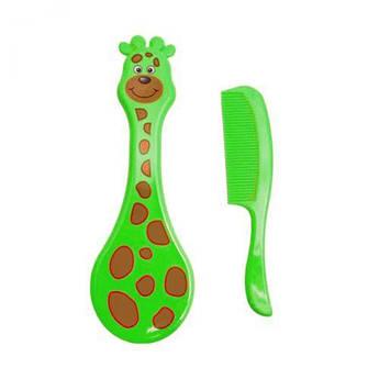 """Набір для догляду за немовлям """"Гребінець-щітка: Жираф"""" (зелений) LI 600"""
